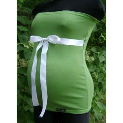 Těhotenský pás/top se stuhou - Zelená