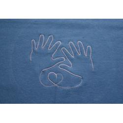 Těhotenský pás/top s výšivkou Ručičky - Světle modrá