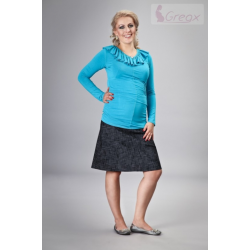 Elegantní těhotenská sukně DENIM - granátová (melírkovaná)