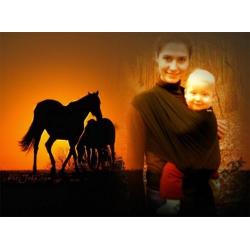 Elastický šátek na nošení kojenců Černý koník , 50cm - Černá