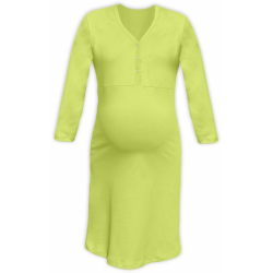Těhotenská a kojící noční košile s výstřihem na cvočky, 3/4 rukáv - Světle zelená