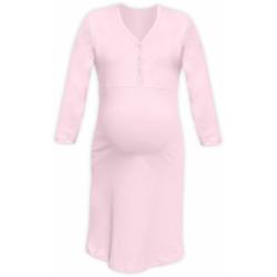 Těhotenská a kojící noční košile s výstřihem na cvočky, 3/4 rukáv - Světle růžová