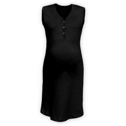 Těhotenská a kojící noční košile s výstřihem na cvočky, bez rukávů - Černá
