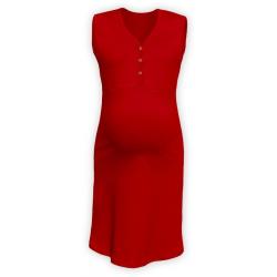 Těhotenská a kojící noční košile s výstřihem na cvočky, bez rukávů - Červená