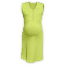 Těhotenská a kojící noční košile s výstřihem na cvočky, bez rukávů - Světle zelená