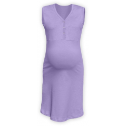 Těhotenská a kojící noční košile s výstřihem na cvočky, bez rukávů - Levandule