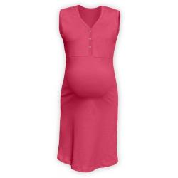 Těhotenská a kojící noční košile s výstřihem na cvočky, bez rukávů - Lososově růžová