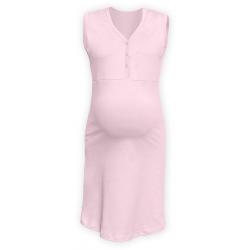 Těhotenská a kojící noční košile s výstřihem na cvočky, bez rukávů - SVětle růžová