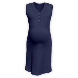 Těhotenská a kojící noční košile s výstřihem na cvočky, bez rukávů - Tmavě modrá