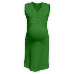 Těhotenská a kojící noční košile s výstřihem na cvočky, bez rukávů - Tmavě zelená