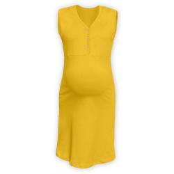 Těhotenská a kojící noční košile s výstřihem na cvočky, bez rukávů - Žlutooranžová