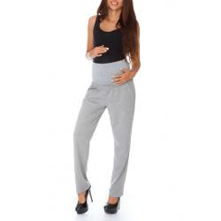 Těhotenské kalhoty s širokým pasem APRIL - šedá