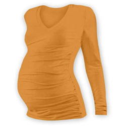 Těhotenské tričko s V výstřihem VANDA, DR - Světle oranžová