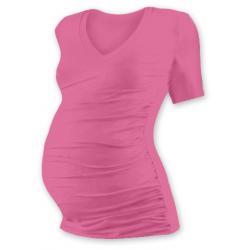 Těhotenské tričko s V výstřihem VANDA, krátký rukáv - Růžová