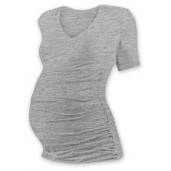Těhotenské tričko s V výstřihem VANDA, krátký rukáv - Šedý melír