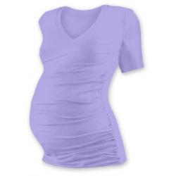 Těhotenské tričko s V výstřihem VANDA, krátký rukáv - Šeříková