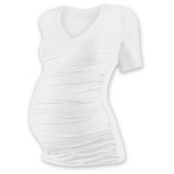 Těhotenské tričko s V výstřihem VANDA, krátký rukáv - Smetanová