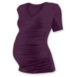 Těhotenské tričko s V výstřihem VANDA, krátký rukáv - Švestka