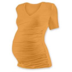 Těhotenské tričko s V výstřihem VANDA, krátký rukáv - Světle oranžová