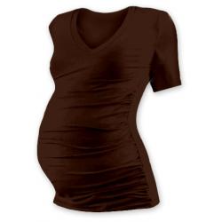 Těhotenské tričko s V výstřihem VANDA, krátký rukáv - Čoko hnědá