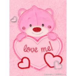 Dětská chlupatá deka Bobas Fashion Medvěd - růžová