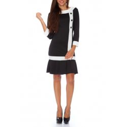 Volánkové šaty s knoflíky - černá