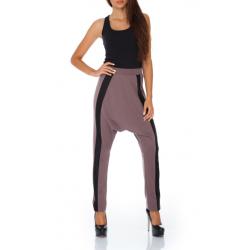 Sportovní harémové kalhoty s lampasy - Mocca