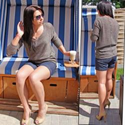 Dámský ažurkový asymetrický svetr PRIMA - Mocca