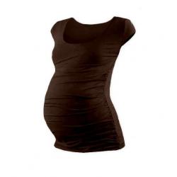 Těhotenské tričko JOHANKA, mini rukáv – Čoko hnědá