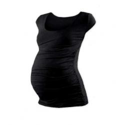 Těhotenské tričko JOHANKA, mini rukáv – Černá