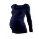 Těhotenské tričko JOHANKA, dlouhý rukáv - Tmavě modrá