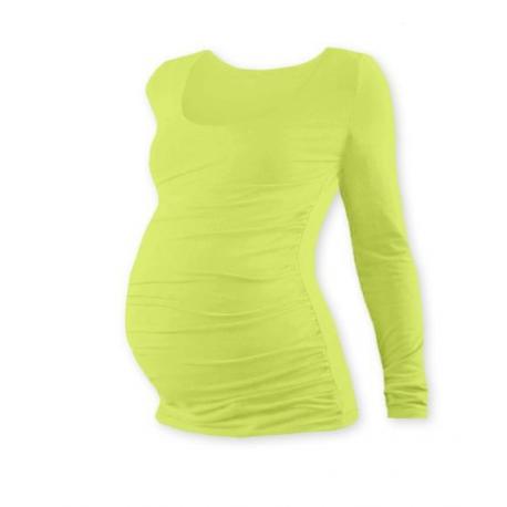 Těhotenské tričko JOHANKA, dlouhý rukáv - Světle zelená