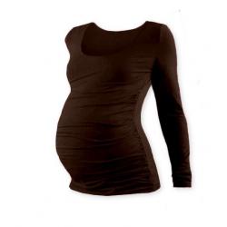 Těhotenské tričko JOHANKA, dlouhý rukáv - Čoko hnědá