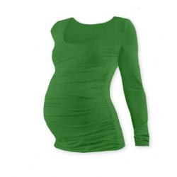 Těhotenské tričko JOHANKA, dlouhý rukáv - Tmavě zelená