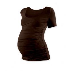 Těhotenské tričko JOHANKA, krátký rukáv - Čoko hnědá